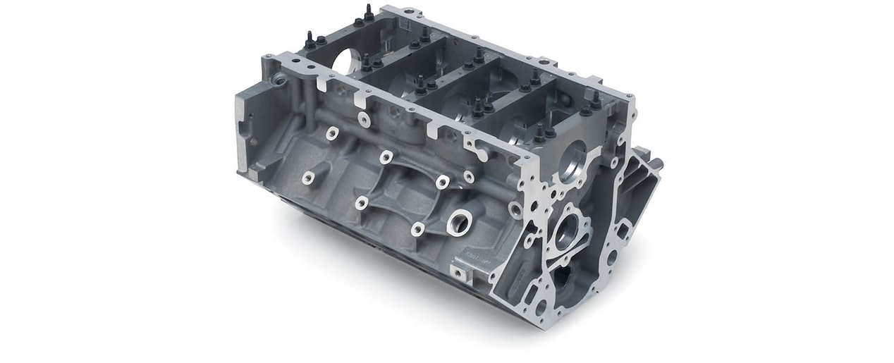 Chevrolet Performance LS/LT/LSX-Series Production Cylinder LS3/L92 Aluminum 6.2L Bare Engine Block Bottom Front View