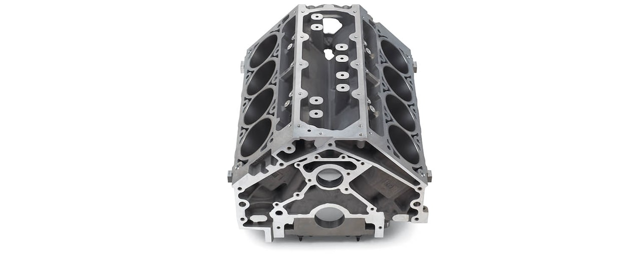 Chevrolet Performance LS/LT/LSX-Series Production Cylinder LS3/L92 Aluminum 6.2L Bare Engine Block Front Top View