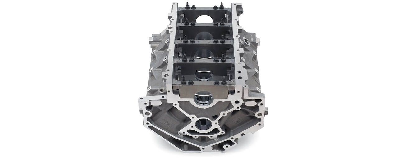 Chevrolet Performance LS/LT/LSX-Series Production Cylinder LS3/L92 Aluminum 6.2L Bare Engine Block Front Bottom View