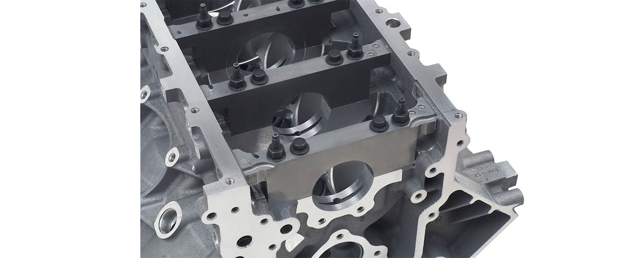 Chevrolet Performance LS/LT/LSX-Series Production Cylinder LS3/L92 Aluminum 6.2L Bare Engine Block Bottom Rear View