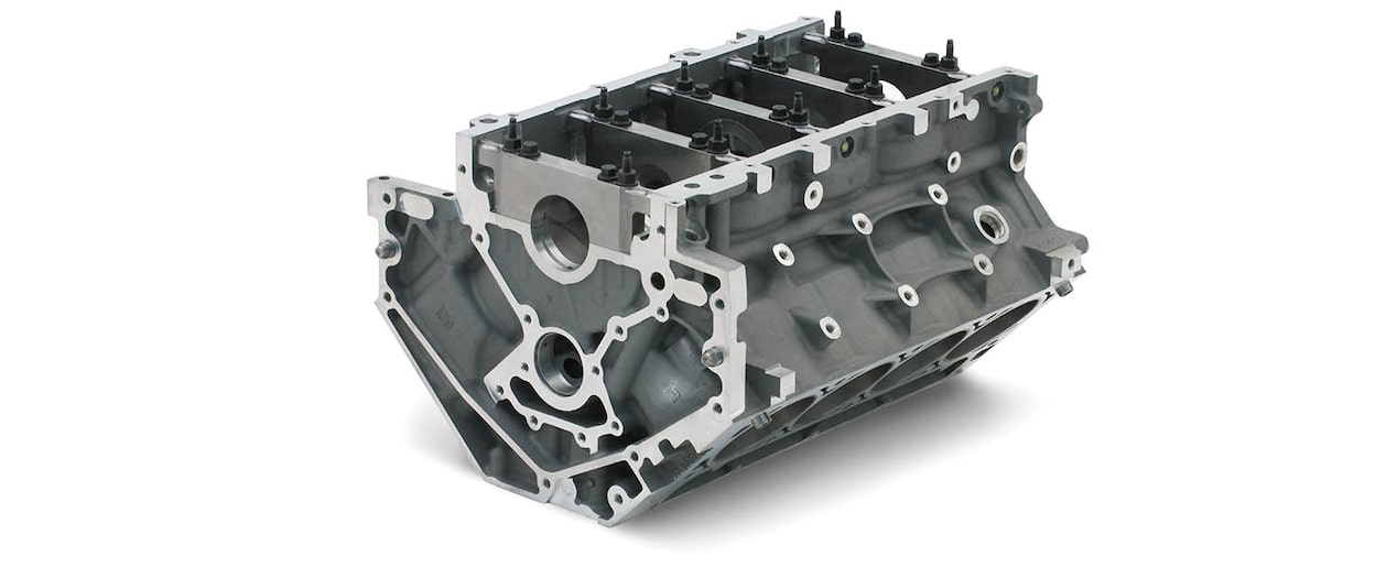Chevrolet Performance LS/LT/LSX-Series Production Cylinder LS9 6.2L Bare Engine Block Bottom Rear View