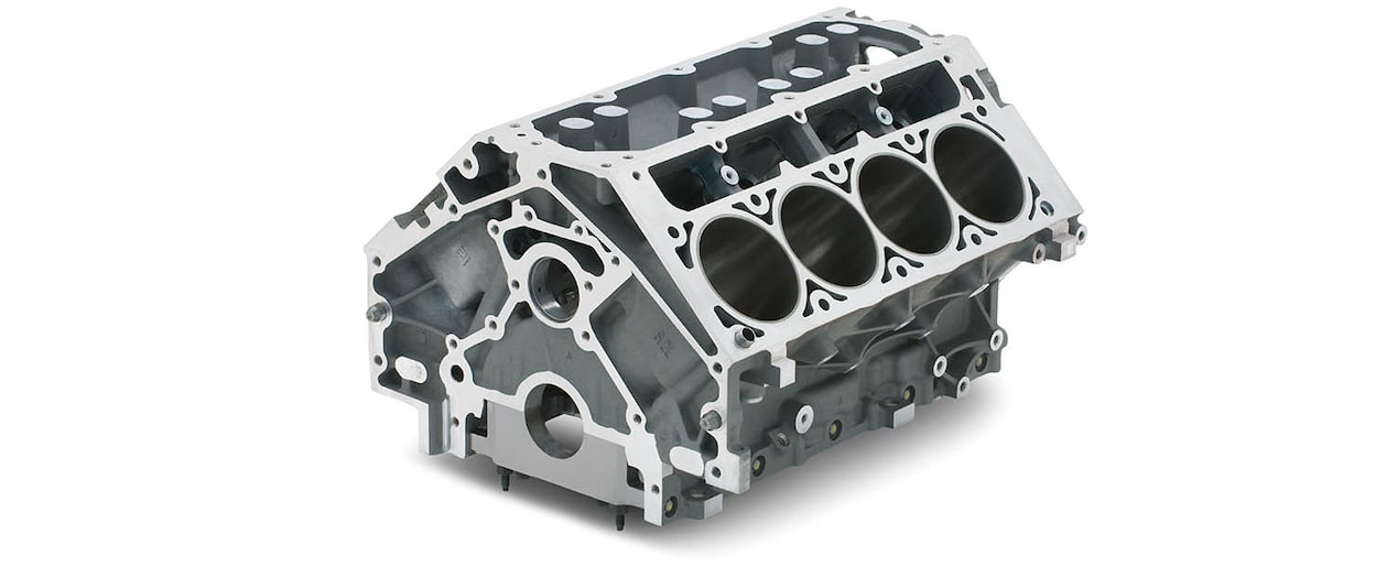 Chevrolet Performance LS/LT/LSX-Series Production Cylinder LS9 6.2L Bare Engine Block Top Rear View