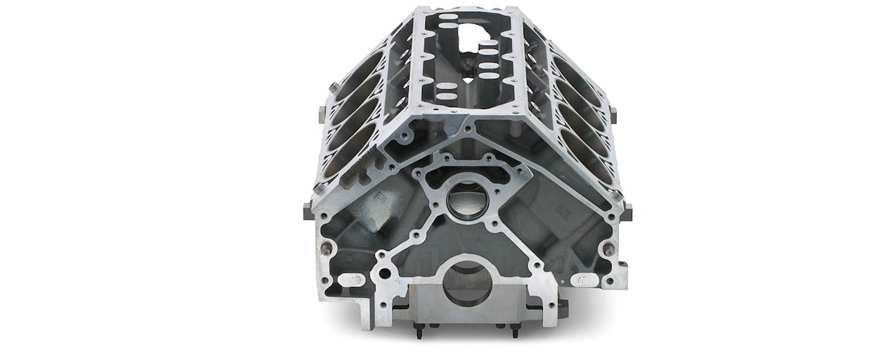 Chevrolet Performance LS/LT/LSX-Series Production Cylinder LS9 6.2L Bare Engine Block Rear Top View