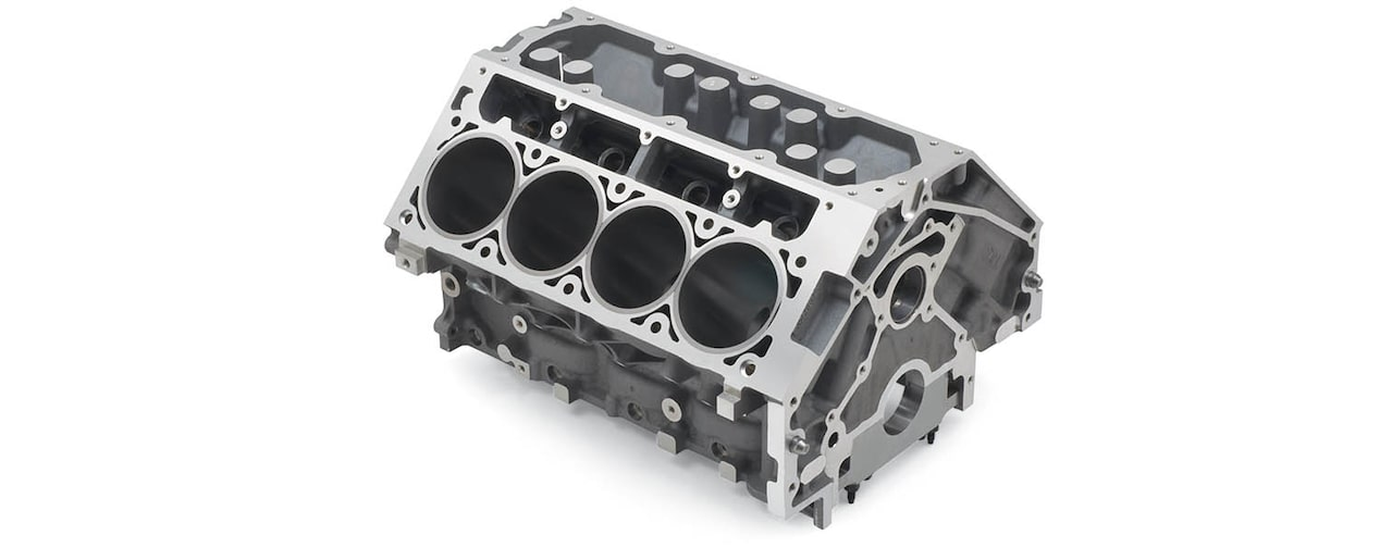 Chevrolet Performance LS/LT/LSX-Series Production Cylinder LS7 7.0L Corvette Bare Engine Block Top Rear View