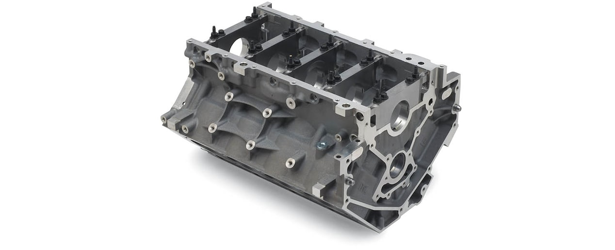 Chevrolet Performance LS/LT/LSX-Series Production Cylinder LS7 7.0L Corvette Bare Engine Block Bottom Rear View