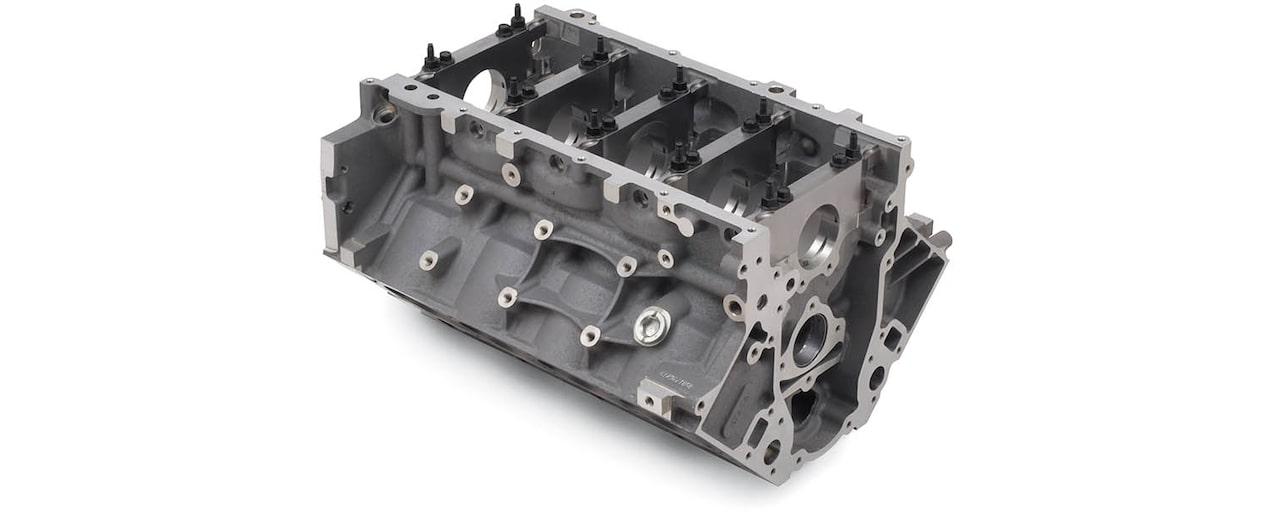 Chevrolet Performance LS/LT/LSX-Series Production Cylinder LS7 7.0L Corvette Bare Engine Block Bottom Front View