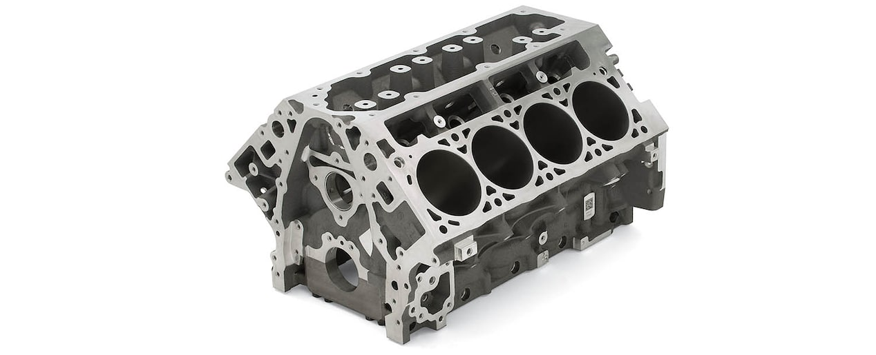 Chevrolet Performance LS/LT/LSX-Series Production Cylinder LT1/LT4 Aluminum 6.2L Bare Engine Block Top Front View