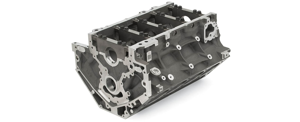 Chevrolet Performance LS/LT/LSX-Series Production Cylinder LT1/LT4 Aluminum 6.2L Bare Engine Block Bottom Rear View
