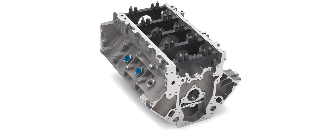 Chevrolet Performance LS/LT/LSX-Series Production Cylinder Aluminum C5R Racing Engine Block Bottom Front View