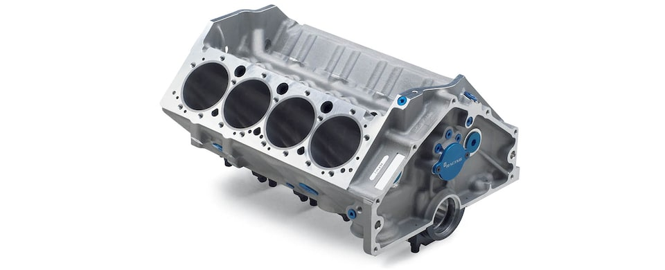 Chevrolet Performance Small-Block 400 Aluminum Race Engine Block Top Rear View