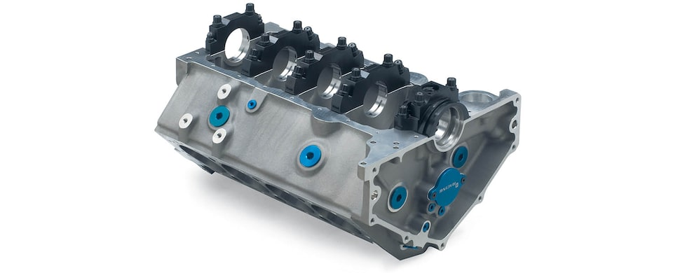 Chevrolet Performance Small-Block 400 Aluminum Race Engine Block Bottom Rear View