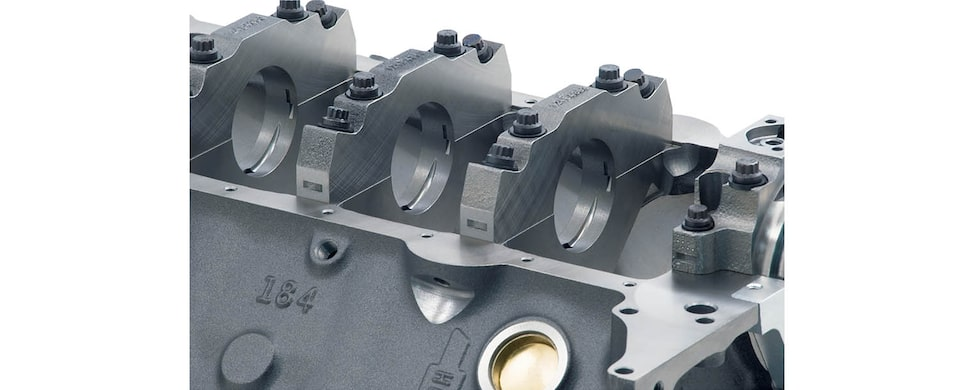 Chevrolet Performance Small-Block Bowtie Sportsman Engine Block 4-Bolt Splayed Main Caps View