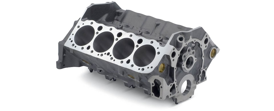 Chevrolet Performance Small-Block Bowtie Sportsman Engine Block Top Front View