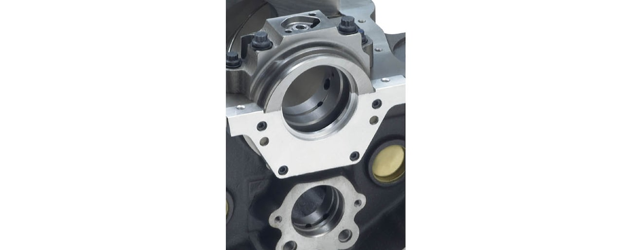 Chevrolet Performance Small-Block Bowtie Sportsman Engine Block 2-Piece Rear Main Seal View