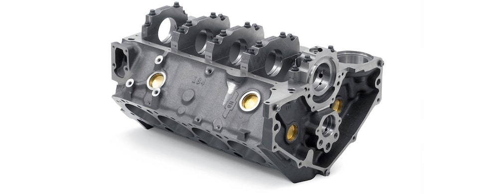 Chevrolet Performance Small-Block Bowtie Sportsman Engine Block for use with 1-Piece Seal Adapter Bottom Rear View