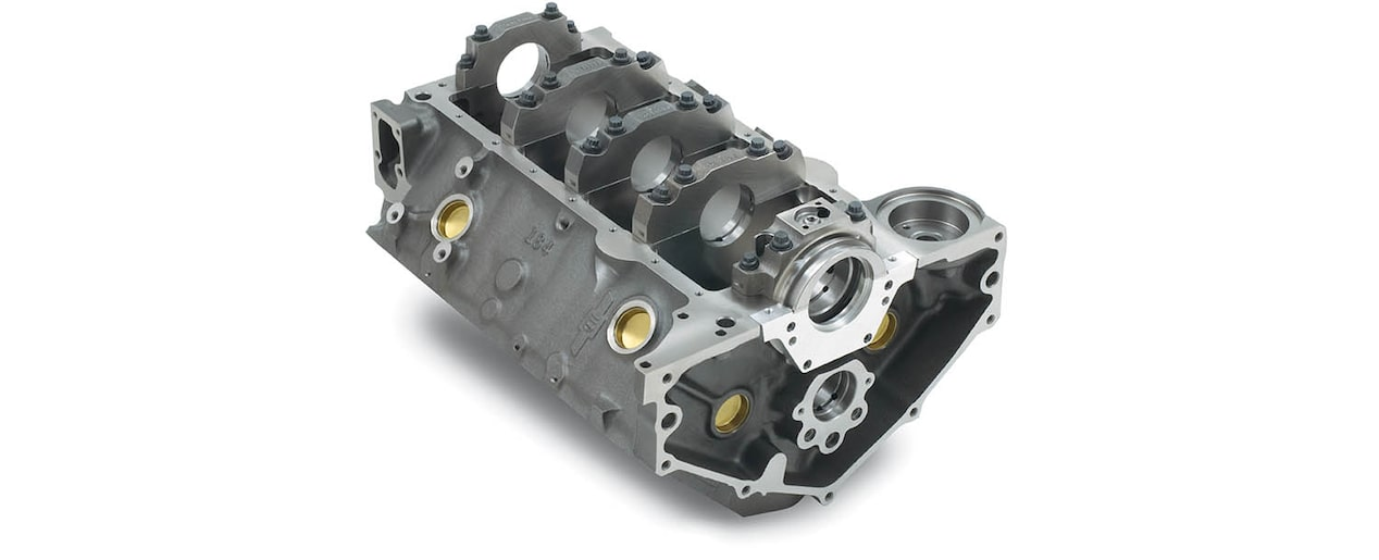 Chevrolet Performance Small-Block 350 Bowtie Sportsman Engine Block with 2-Piece Rear Main Seal Bottom Rear View