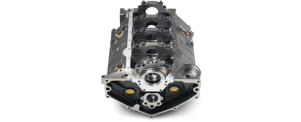 Chevrolet Performance Small-Block 350 Bowtie Sportsman Engine Block with 2-Piece Rear Main Seal Rear Bottom View