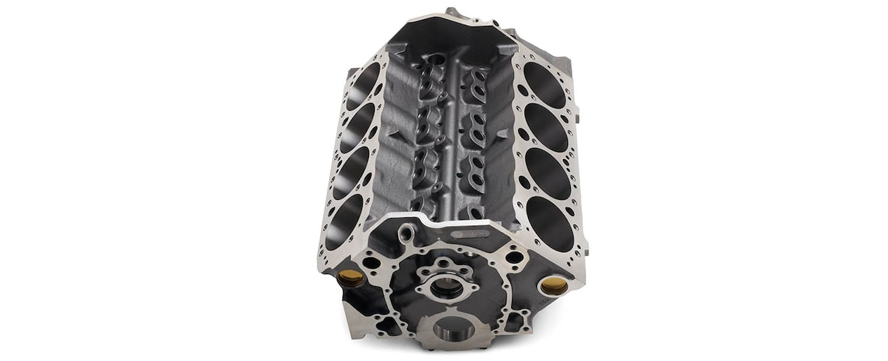 Chevrolet Performance Small-Block 350 Bowtie Sportsman Engine Block Valley Top Front View