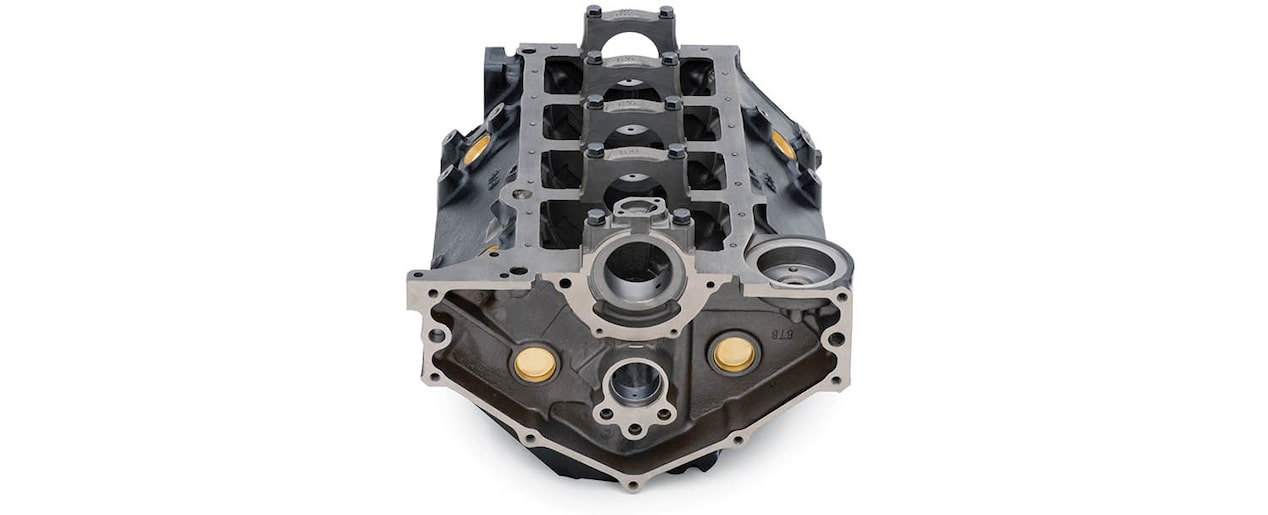 Chevrolet Performance Small-Block 305 V-8 Production Engine Block Bottom Rear View