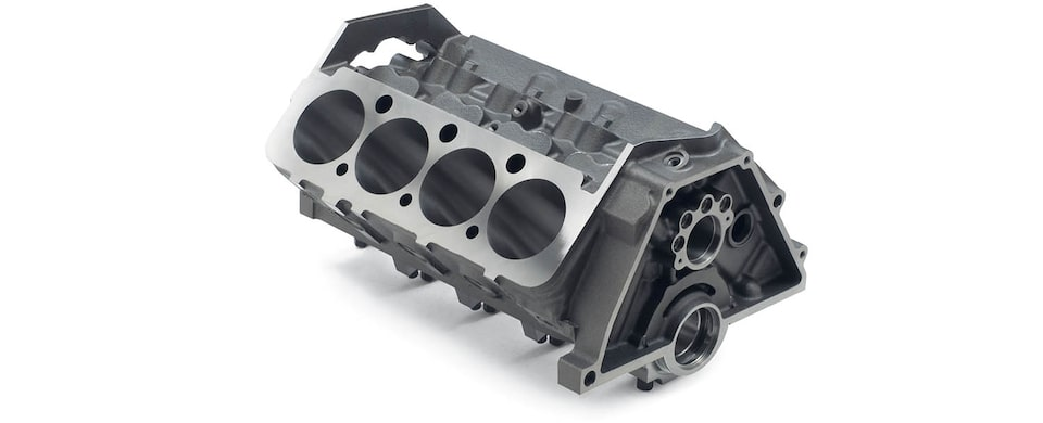 Chevrolet Performance Small-Block Short-Deck Race Engine Block Top Rear View