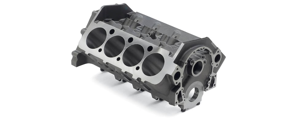 Chevrolet Performance Small-Block Short-Deck Race Engine Block Top Front View