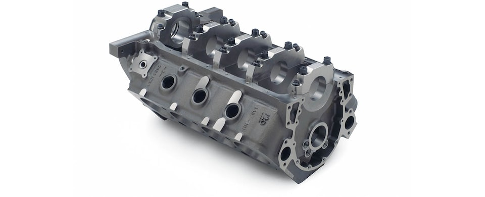 Chevrolet Performance Small-Block Short-Deck Race Engine Block Bottom Front View