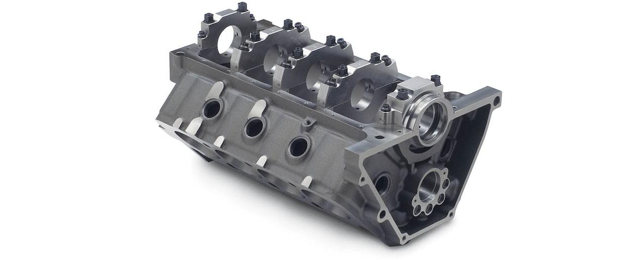 Chevrolet Performance Small-Block Short-Deck Race Engine Block Bottom Rear View