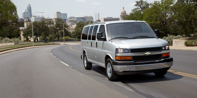 2018 Express Passenger Van Driving on the Road