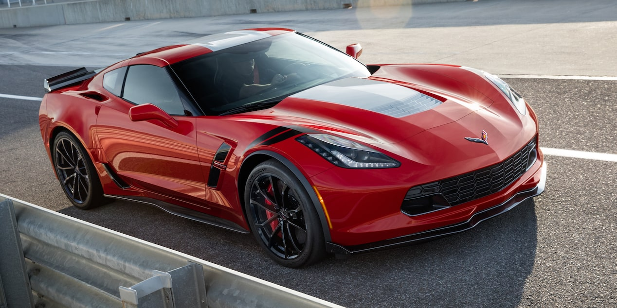 Side view of the 2017 Chevrolet Corvette Grand Sport sports car driving