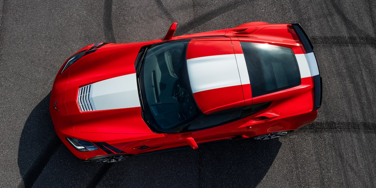 Top view of the 2017 Chevrolet Corvette Grand Sport sports car