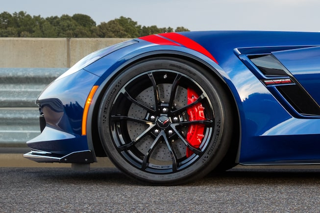 Side view of the wheels on the 2017 Chevrolet Corvette Grand Sport sports car