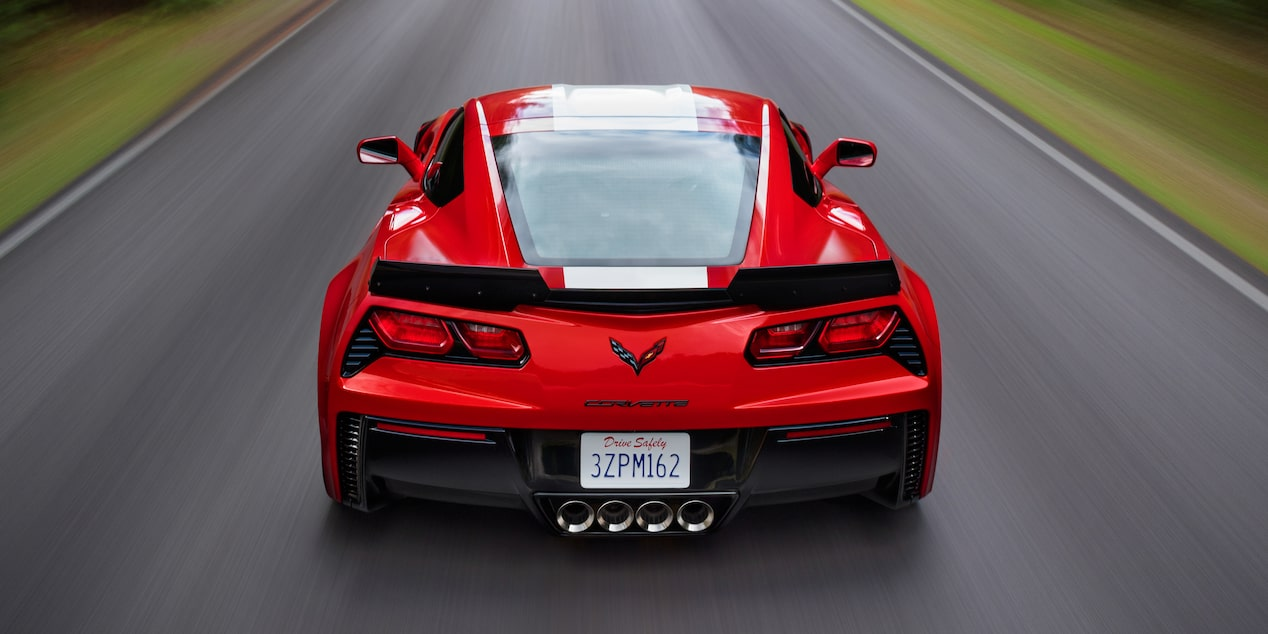 Back view of the 2017 Chevrolet Corvette Grand Sport sports car