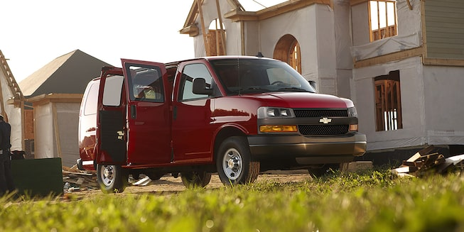 2018 Chevrolet Express Cargo Van: At a work site with side doors open