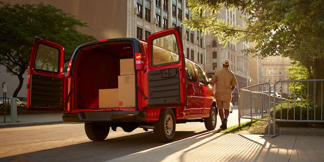 2018 Chevrolet Express Cargo Van: With rear doors open
