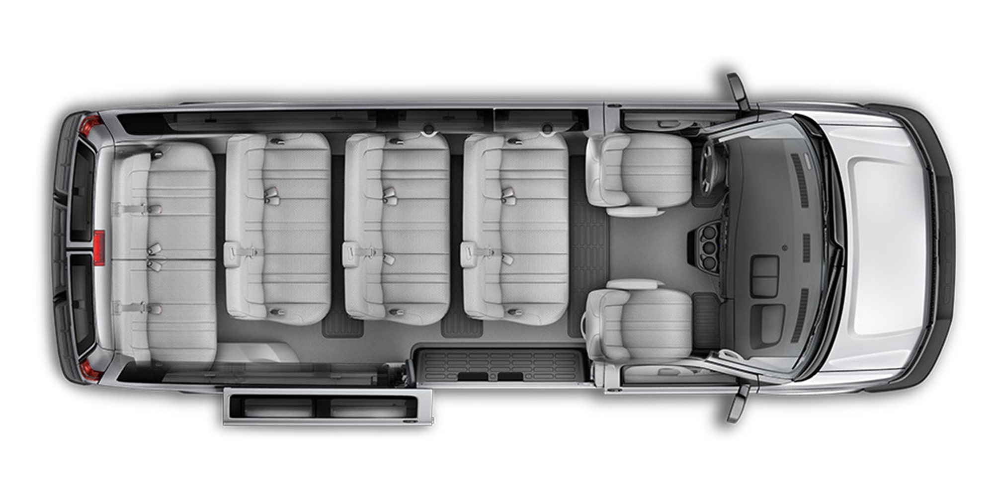 Overhead Interior Seating View Of The 2018 Express Passenger Van