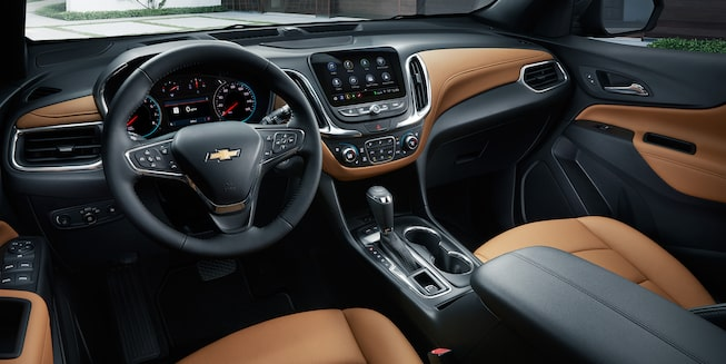 2019 Equinox Small SUV Interior Photo: Jet Black/Brandy Perforated Leather