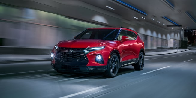 2020 Chevy Blazer Sporty SUV: driving down the tunnel with LED headlights on