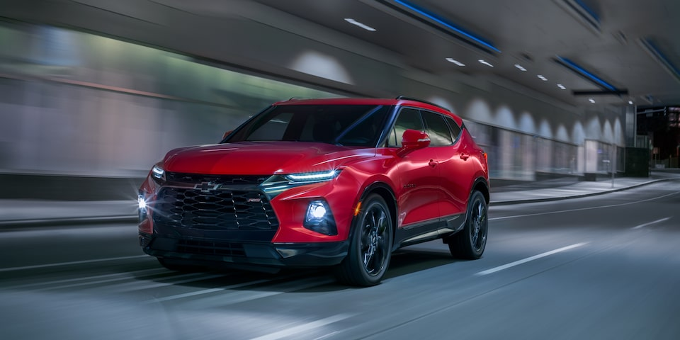 2020 Chevy Blazer Sporty SUV: driving in a tunnel with LED headlights on