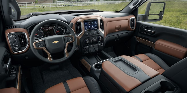 2020 Chevy All-New Silverado HD Truck: interior dashboard with a scenic outlook