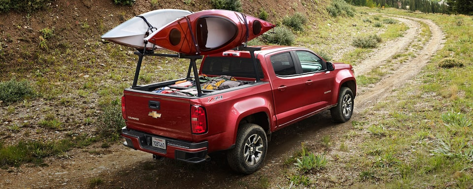 2020 Chevrolet Colorado Mid-Size Truck with rear cargo rack and kayaks