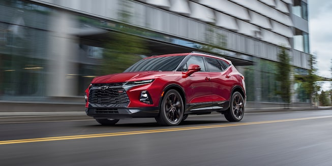 2021 Chevy Blazer Sporty SUV: driving down city street