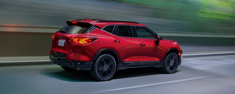 2021 Chevy Blazer Sporty SUV: passenger side driving down road