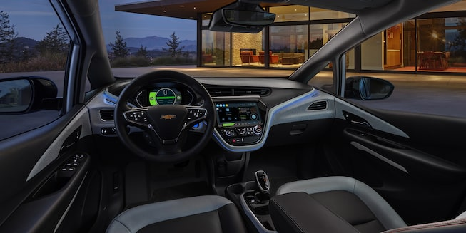 2021 Bolt EV Electric Car Interior Photo: Dashboard Night Time
