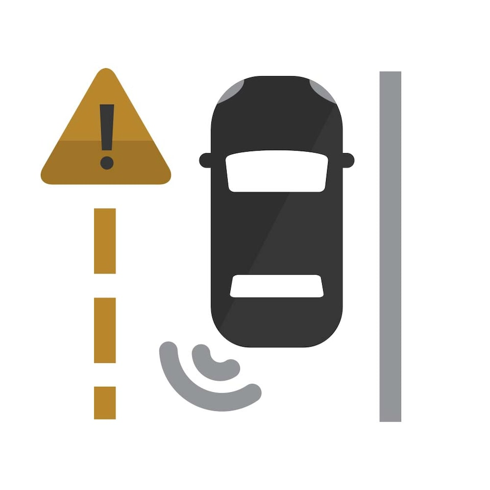 Lane Change Alert with Side Blind Zone Alert Icon