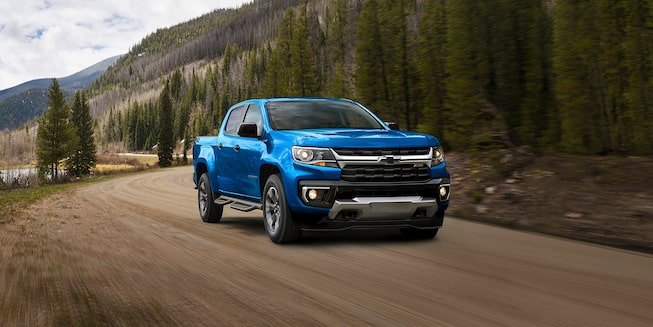 2021 Chevrolet Colorado Truck Driving Through Mountains