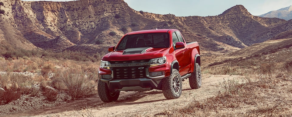 2021 Chevrolet Colorado ZR2 Truck Driving Off-Road in Mountains