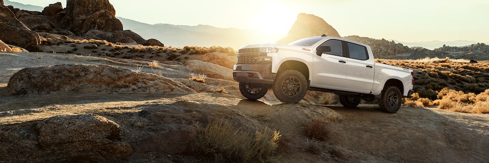 2021 Silverado 1500 Custom Trail Boss Pickup Truck Off Road Trailing View