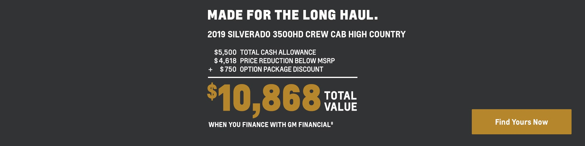 2019 Silverado 3500HD: $10,868 Total Value