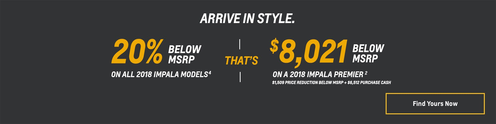 Chevy Deals and Offers: 2018 Impala - 20% Below MSRP
