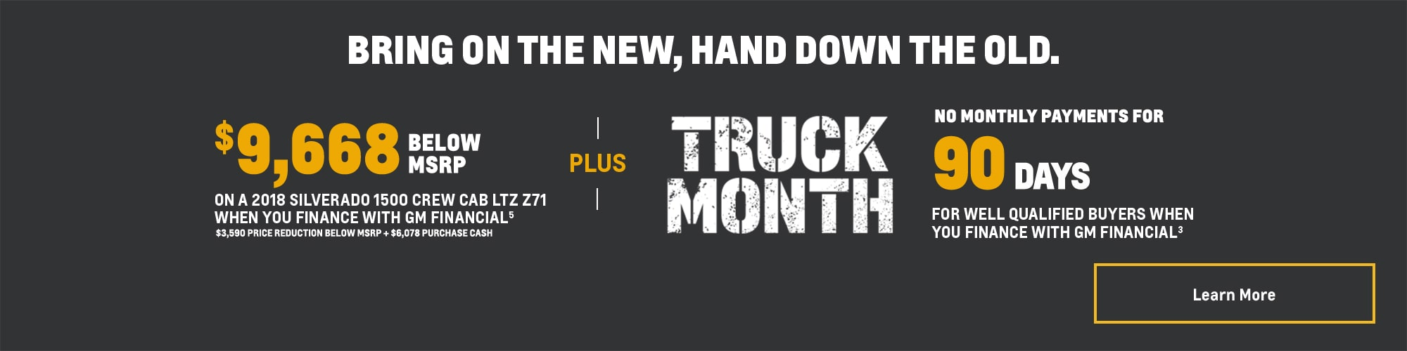 """ Truck Month Offers: Silverado 1500 Crew Cab LTZ Z71 - 14% of MSRP Cash Back"""